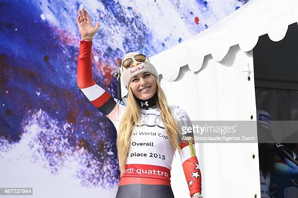Lindsey Vonn of the USA takes 3rd place in the overall World Cup during the Audi FIS Alpine Ski World Cup Finals on March 22 2015 in Meribel France