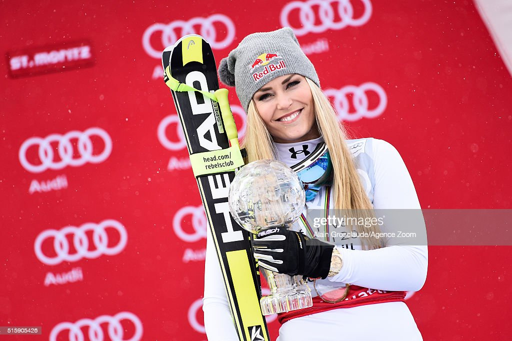 <a gi-track='captionPersonalityLinkClicked' href=/galleries/search?phrase=Lindsey+Vonn&family=editorial&specificpeople=4668171 ng-click='$event.stopPropagation()'>Lindsey Vonn</a> of the USA wins the downhill crystal globe during the Audi FIS Alpine Ski World Cup Finals Men's and Women's Downhill on March 16, 2016 in St. Moritz, Switzerland.