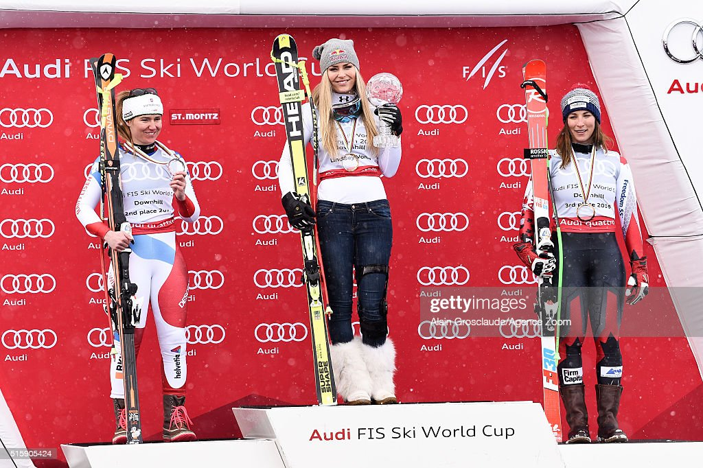 Lindsey Vonn of the USA wins the downhill crystal globe, Fabienne Suter of Switzerland takes 2nd place in the race and the overall downhill standings, Larisa Yurkiw of Canada takes 3rd place in the overall downhill standings during the Audi FIS Alpine Ski World Cup Finals Men's and Women's Downhill on March 16, 2016 in St. Moritz, Switzerland.