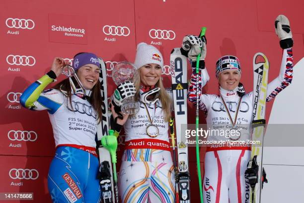 Lindsey Vonn of the USA wins the Overall Combined globe Tina Maze of Slovenia takes 2nd place Nicole Hosp of Austria takes 3rd place on March 17 2012...