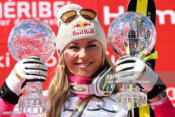 Lindsey Vonn of the USA wins the overall SuperG and Downhill World Cup globes during the Audi FIS Alpine Ski World Cup Finals Women's Super G on...