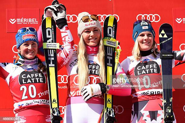 Lindsey Vonn of the USA wins the race and the overall World Cup downhill globe Elisabeth Goergl of Austria takes 2nd place Nicole Hosp of Austria...