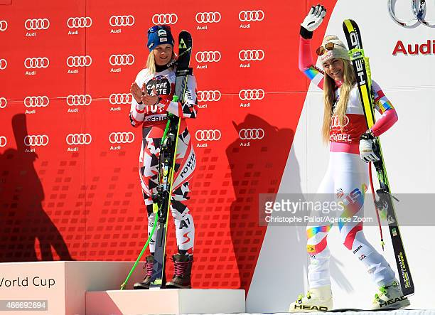 Lindsey Vonn of the USA wins the race and the overall World Cup downhill globe Nicole Hosp of Austria takes 3rd place during the Audi FIS Alpine Ski...