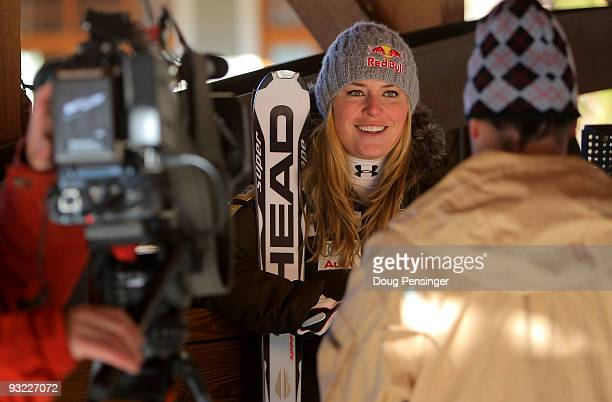 Lindsey Vonn of the Women's US Alpine Ski Team does a television interview during media day on November 19 2009 in Copper Mountain Colorado