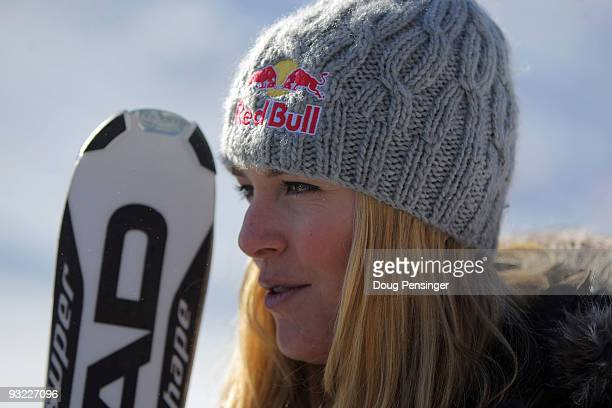 Lindsey Vonn of the Women's US Alpine Ski Team talks to the media during media day on November 19 2009 in Copper Mountain Colorado