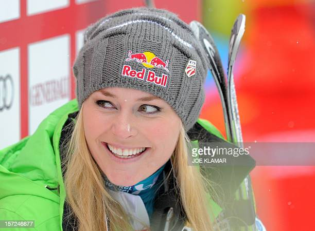 Lindsey Vonn of US smiles in the finish area during the women's Alpine Skiing World Cup downhill in Lake Louise on November 30 2012 Vonn won ahead of...