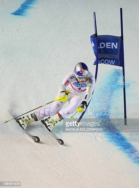 Lindsey Vonn of USA competes at the FIS Ski World Cup Parallel Slalom city event in Moscow on February 21 2012 Lindsey Vonn took the third place AFP...