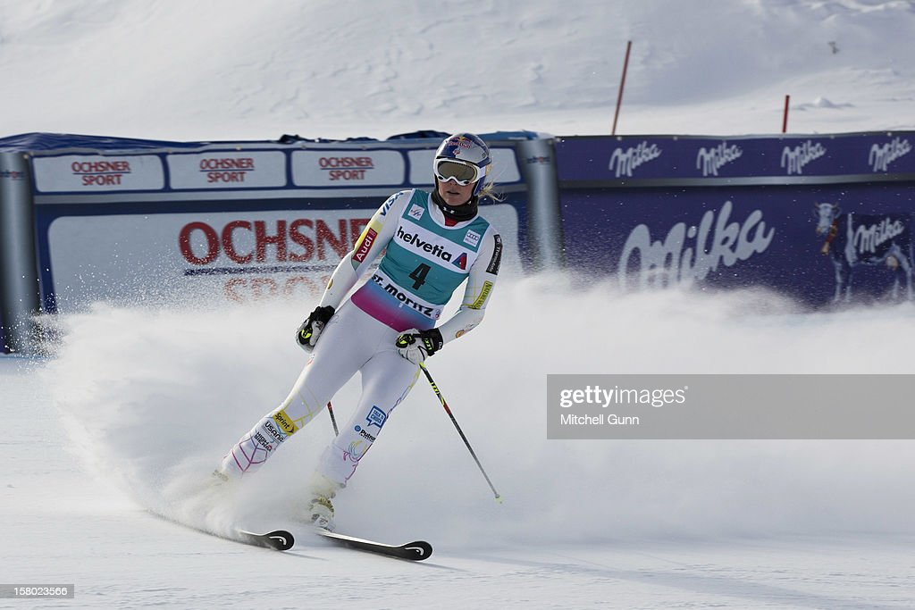 <a gi-track='captionPersonalityLinkClicked' href=/galleries/search?phrase=Lindsey+Vonn&family=editorial&specificpeople=4668171 ng-click='$event.stopPropagation()'>Lindsey Vonn</a> of USA reacts in the finish area of the Audi FIS Alpine Ski World Giant Slalom race on December 9 2012 in St Moritz, Switzerland.