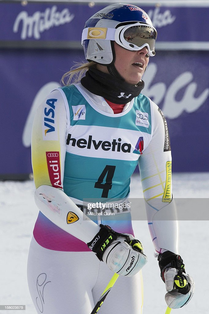 Lindsey Vonn of USA reacts in the finish area of the Audi FIS Alpine Ski World Giant Slalom race on December 9 2012 in St Moritz, Switzerland.