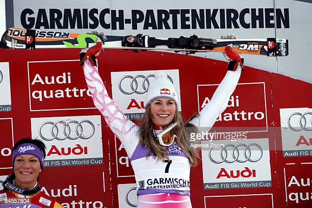 Lindsey Vonn of USA takes 1st place during the Alpine FIS Ski World Cup Women's Slalom on January 31 2009 in Garmisch Germany