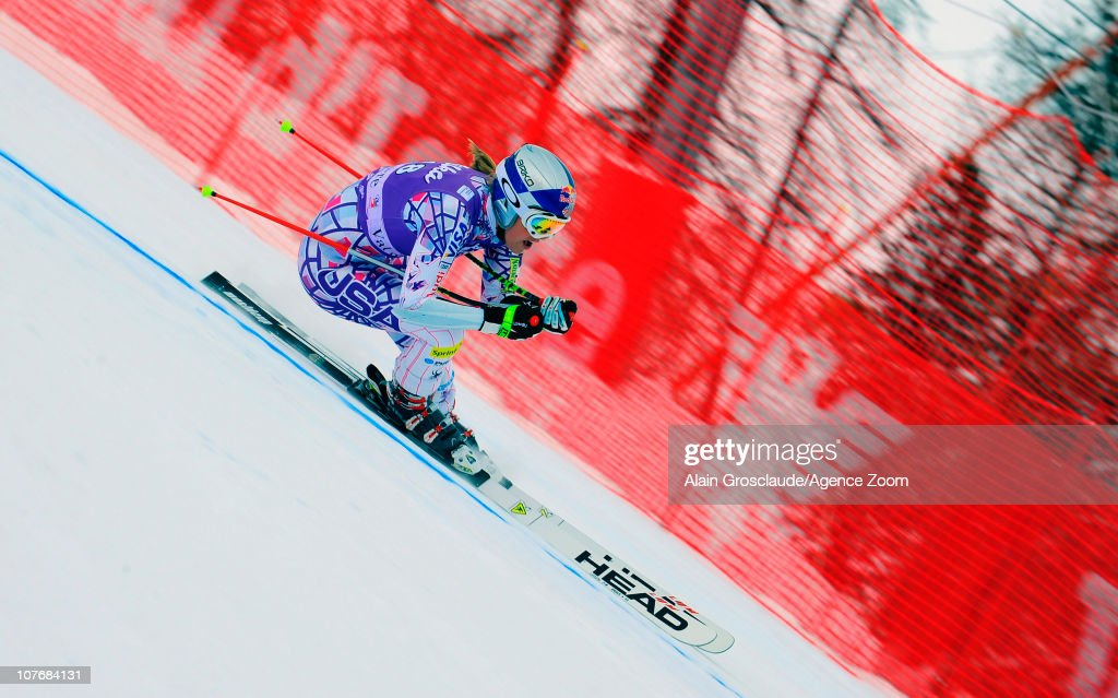 Lindsey Vonn of USA takes 1st place during the Audi FIS World Cup Alpine skiing Women's Super GSuper Combined on December 19 2010 in Val d'Isere...
