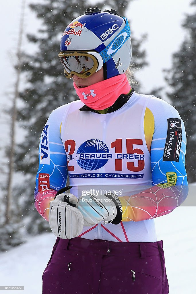 Lindsey Vonn prepares for a downhill training run at the U.S. Ski Team Speed Center at Copper Mountain on November 6, 2013 in Copper Mountain, Colorado. Vonn is wearing a bib promoting the 2015 FIS Alpine Ski World Championships which will take place in her home town Vail-Beaver Creek, Colorado.