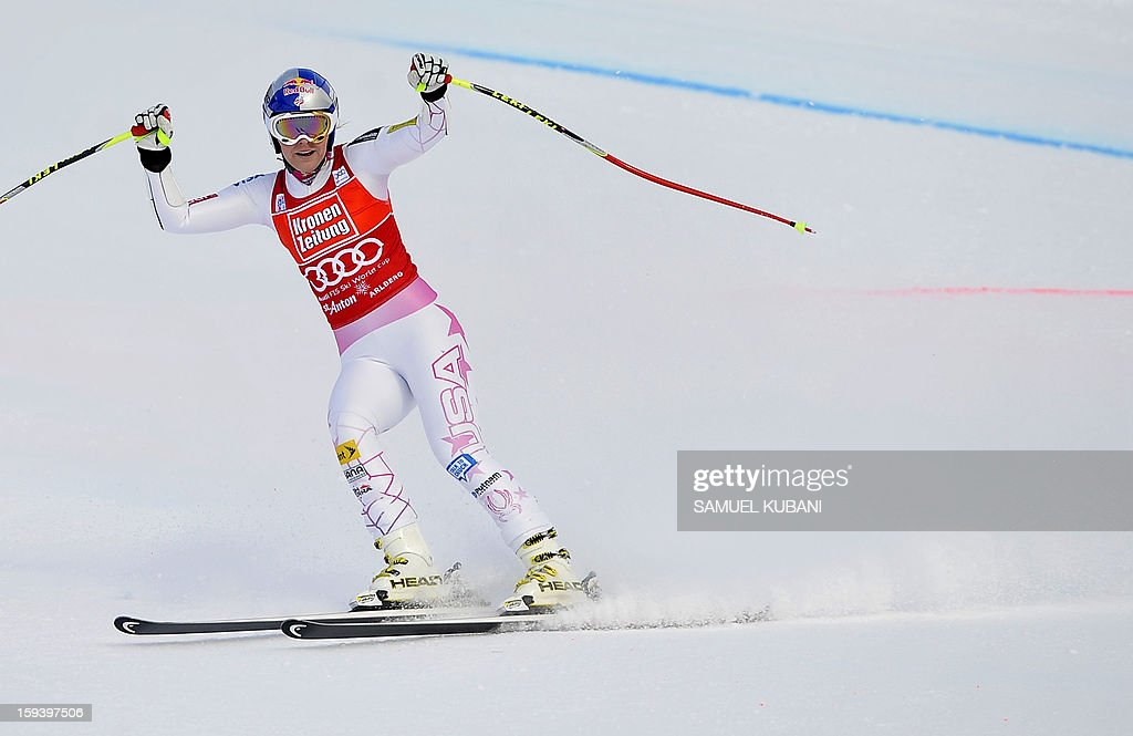 US Lindsey Vonn reacts in finish area at the women's World Cup Super G, on January 13, 2013 in St Anton am Arlberg, Austria. Slovenia's Tina Maze won ahead of Austria's Anna Fenninger and Switzerland's Fabienne Suter.