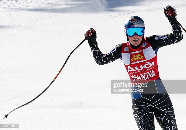 US Lindsey Vonn reacts in the finish area as she won the Downhill race during the Women's ski worldcup in Sestriere on February 9 2008 Vonn won the...