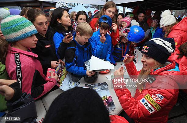 Lindsey Vonn signs autographs for fans during the US Alpine Ski Team Announcement and pep rally at Copper Mountain on November 8 2013 in Copper...