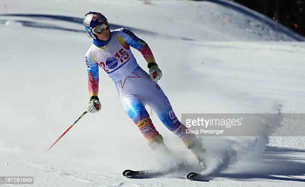 Lindsey Vonn slides into the finish area during downhill training at the US Ski Team Speed Center at Copper Mountain on November 7 2013 in Copper...