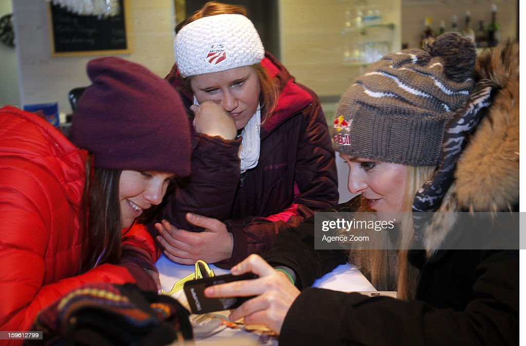 Lindsey Vonn, Stacey Cook, and Leanne Smith of the Womens U.S. Ski Team spend an afternoon site seeing January 17. 2012 in Cortina d'Ampezzo, Italy.