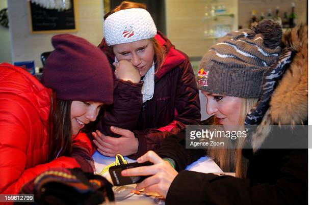 Lindsey Vonn Stacey Cook and Leanne Smith of the Womens US Ski Team spend an afternoon site seeing January 17 2012 in Cortina d'Ampezzo Italy