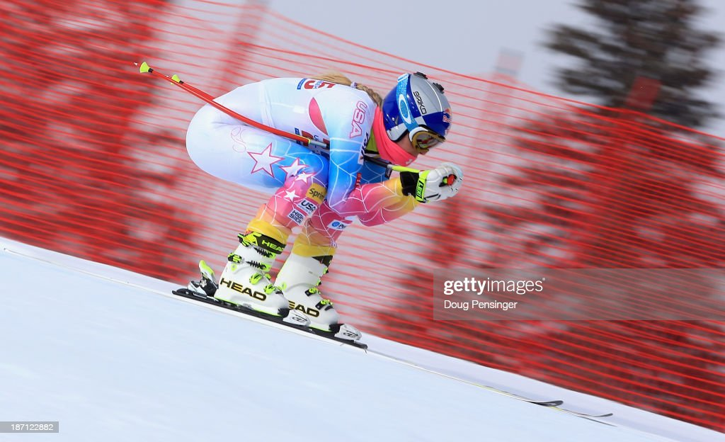 <a gi-track='captionPersonalityLinkClicked' href=/galleries/search?phrase=Lindsey+Vonn&family=editorial&specificpeople=4668171 ng-click='$event.stopPropagation()'>Lindsey Vonn</a> takes a downhill training run at the U.S. Ski Team Speed Center at Copper Mountain on November 6, 2013 in Copper Mountain, Colorado.