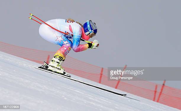 Lindsey Vonn takes a downhill training run at the US Ski Team Speed Center at Copper Mountain on November 6 2013 in Copper Mountain Colorado