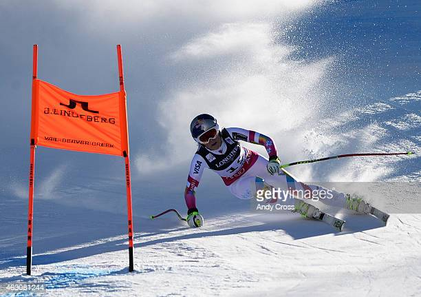 Lindsey Vonn USA rounds a gate during the Ladies' Alpine Combined downhill race at the FIS Alpine World Ski Championships at Beaver Creek Resort...