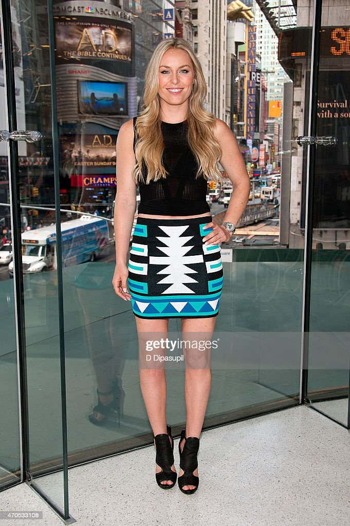 <a gi-track='captionPersonalityLinkClicked' href=/galleries/search?phrase=Lindsey+Vonn&family=editorial&specificpeople=4668171 ng-click='$event.stopPropagation()'>Lindsey Vonn</a> visits 'Extra' at their New York studios at H&M in Times Square on April 21, 2015 in New York City.