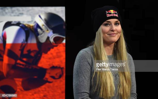 Lindsey Vonn visits the Eurosport studio in St Moritz for an interview by lead presenter and former Olympic triplejump champion and world record...