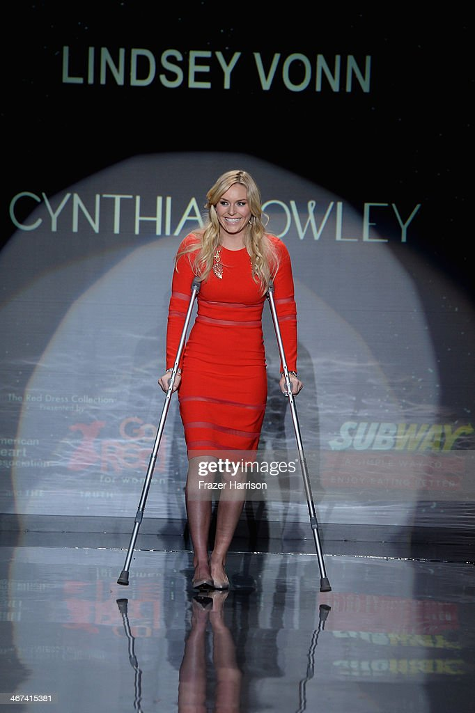 Lindsey Vonn walks the runway wearing Cynthia Rawley at Go Red For Women - The Heart Truth Red Dress Collection 2014 Show Made Possible By Macy's And SUBWAY Restaurants at The Theatre at Lincoln Center on February 6, 2014 in New York City.
