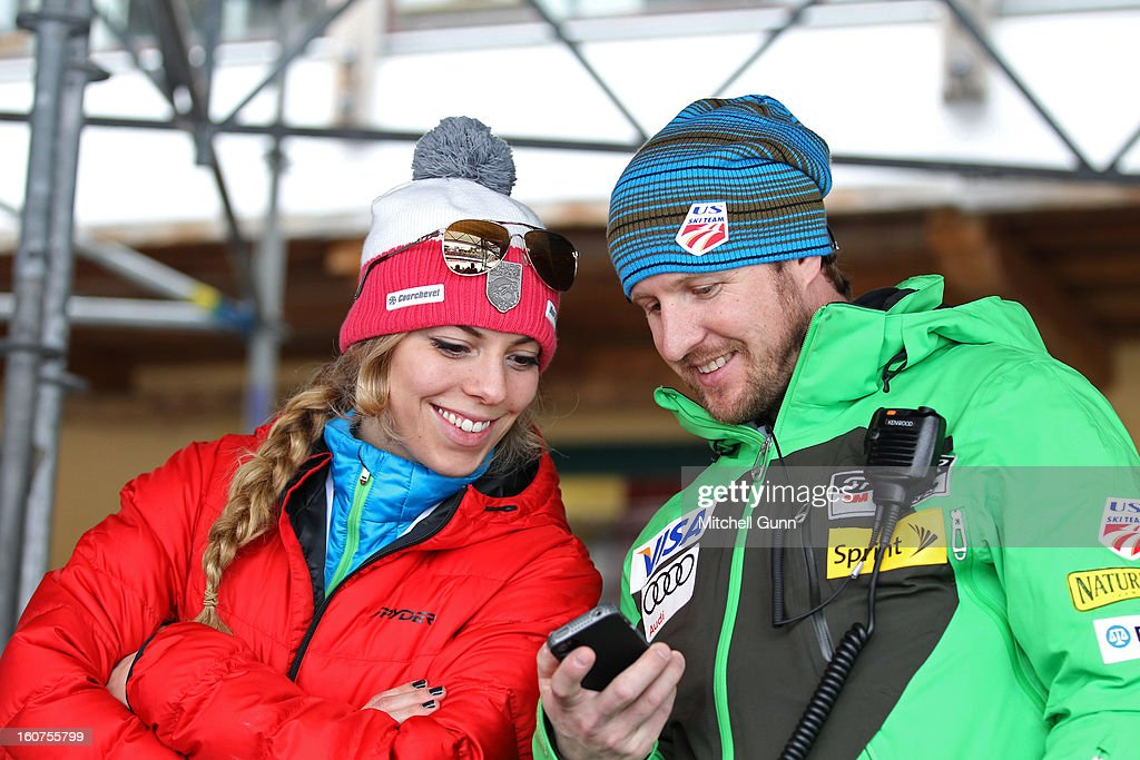 Lindsey Vonn's sister Laura Kildow and US Team Press officer Doug Haney talk in the team area before the Alpine FIS Ski World Championships Super Giant Slalom (SuperG) race on February 05, 2013 in Schladming, Austria,