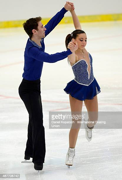Lindsey Weinstein and Jacob Simon of the United States skate during junior pairs short programm of ISU Junior Grand Prix of figure skating on...