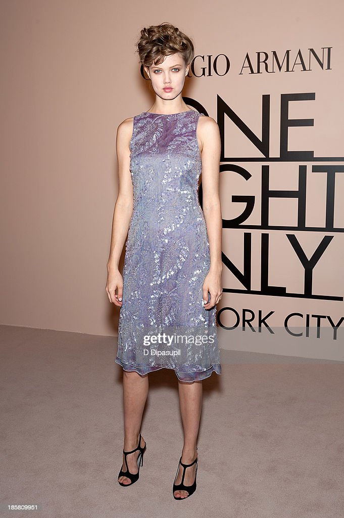 <a gi-track='captionPersonalityLinkClicked' href=/galleries/search?phrase=Lindsey+Wixson&family=editorial&specificpeople=6876942 ng-click='$event.stopPropagation()'>Lindsey Wixson</a> attends Armani - One Night Only New York at SuperPier on October 24, 2013 in New York City.