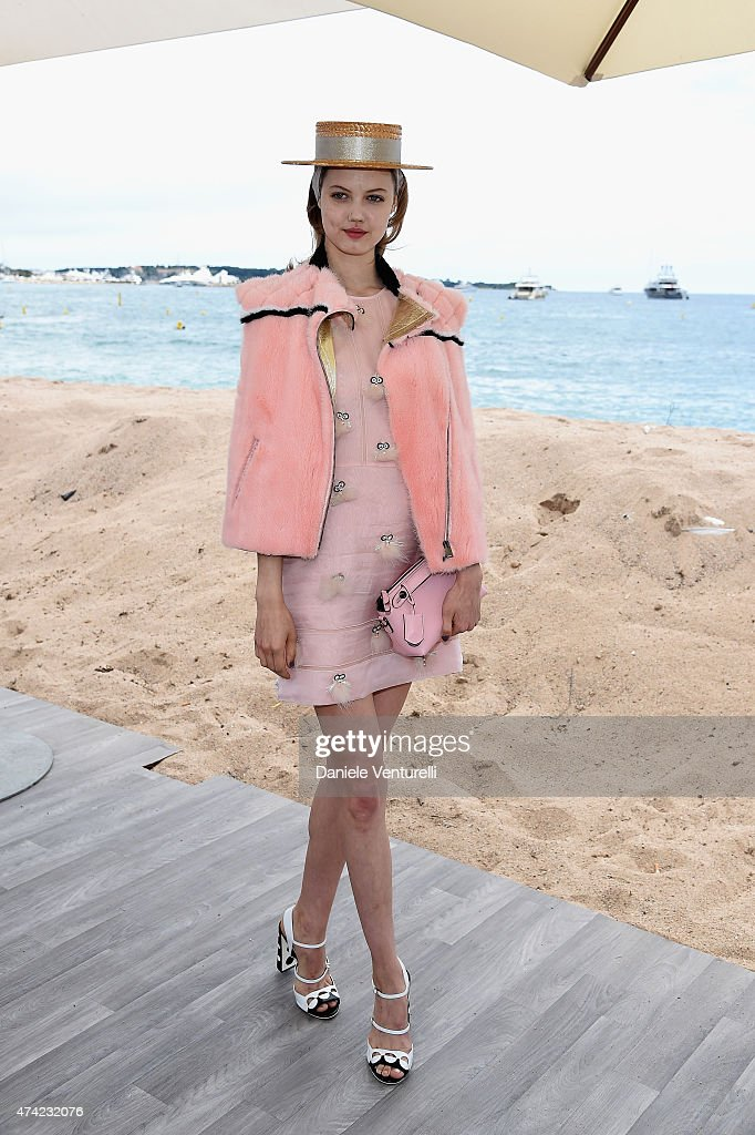Lindsey Wixson attends the launch of the new 'Fendi By Karl Lagerfeld' Book during the 68th annual Cannes Film Festival on May 21 2015 in Cannes...