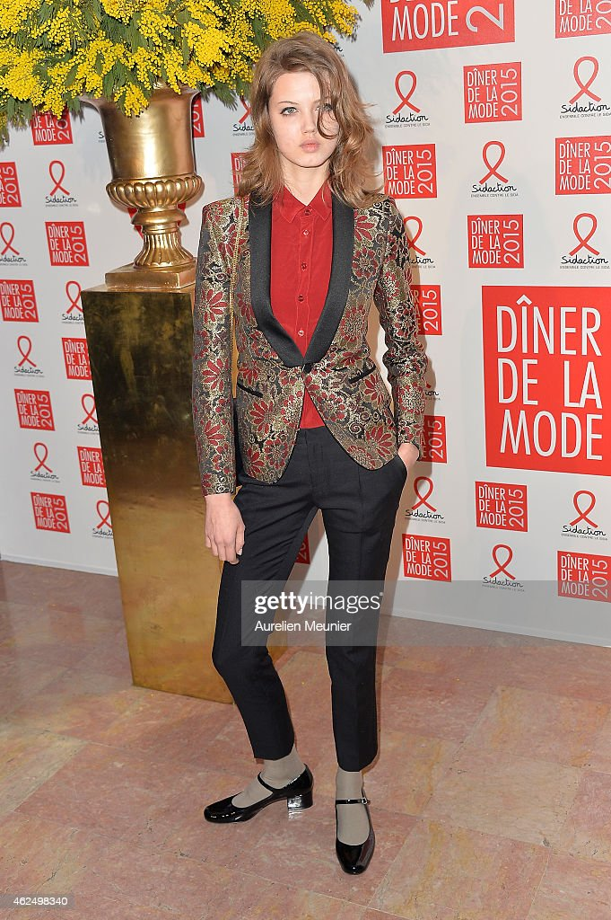 Lindsey Wixson attends the Sidaction Gala Dinner 2015 at Pavillon d'Armenonville on January 29 2015 in Paris France