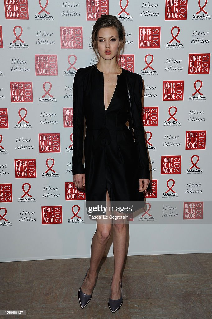 Lindsey Wixson poses as she arrives to attend the Sidaction Gala Dinner 2013 at Pavillon d'Armenonville on January 24, 2013 in Paris, France.