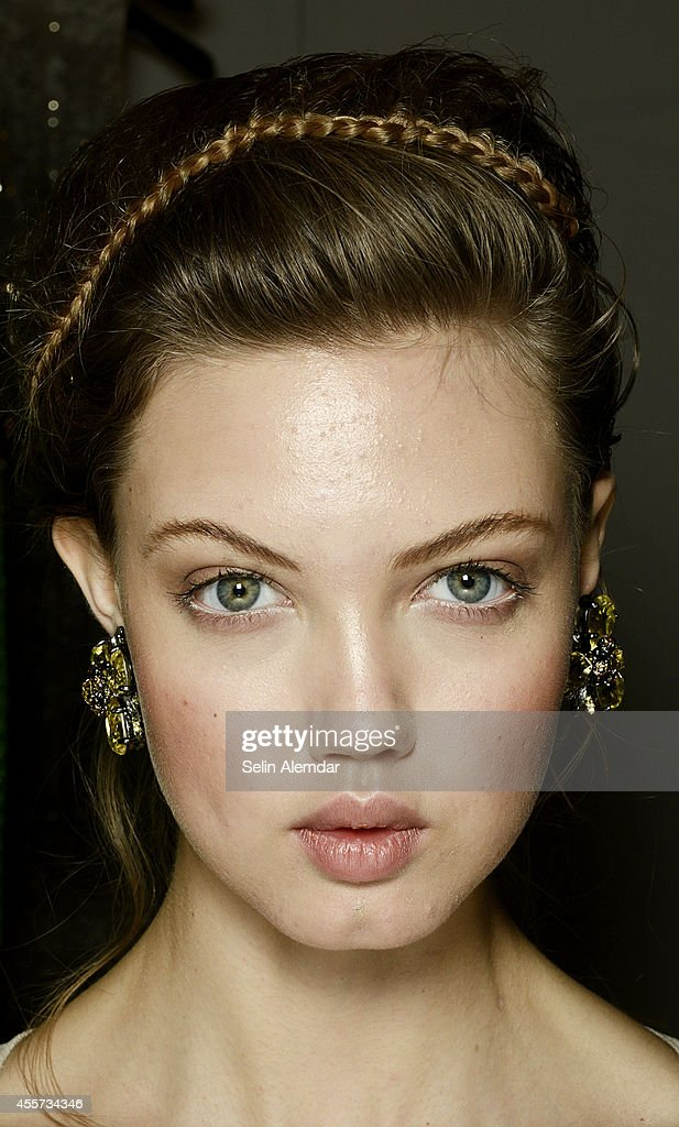 Lindsey Wixson poses backstage ahead of Ermanno Scervino show during Milan Fashion Week Womenswear Spring/Summer 2015 on September 19 2014 in Milan...