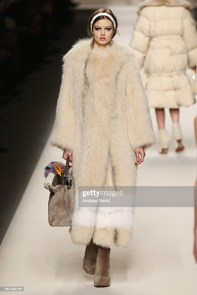 Lindsey Wixson walks the runway at the Fendi show during the Milan Fashion Week Autumn/Winter 2015 on February 26 2015 in Milan Italy