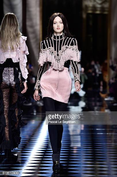 Lindsey Wixson walks the runway during the Balmain show as part of the Paris Fashion Week Womenswear Fall/Winter 2016/2017 on March 3 2016 in Paris...