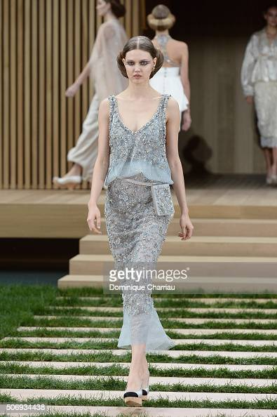 Lindsey Wixson walks the runway during the Chanel Haute Couture Spring Summer 2016 show as part of Paris Fashion Week on January 26 2016 in Paris...