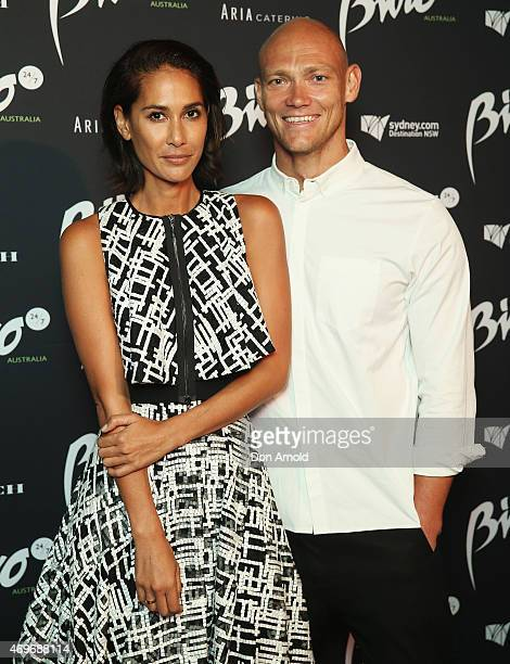 Lindy Klim and Michael Klim arrive at the Buro 24/7 Australia launch at the Sydney Opera House on April 14 2015 in Sydney Australia