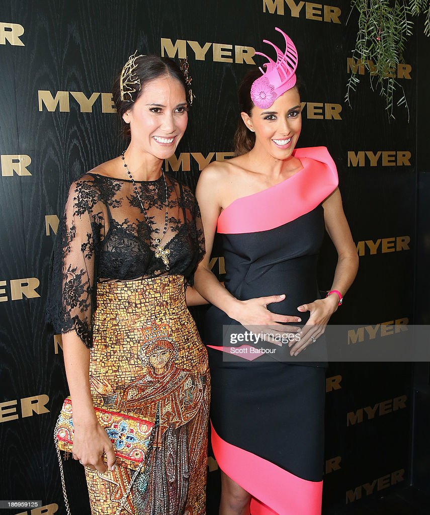 Lindy Klim and Rebecca Judd attend the Myer marquee during Melbourne Cup Day at Flemington Racecourse on November 5, 2013 in Melbourne, Australia.