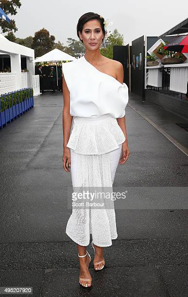 Lindy Klim attends on Derby Day at Flemington Racecourse on October 31 2015 in Melbourne Australia