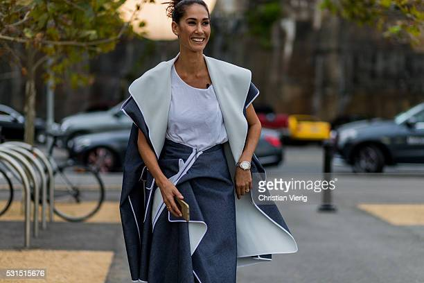 Lindy Klim wearing a grey skirt and jacket from Toni Maticevski sleeveless coat white tshirt outside Toni Maticevski at MercedesBenz Fashion Week...