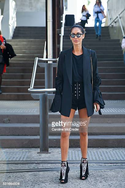 Lindy Klim wearing an Ellery jacket arrives ahead of the Ginger and Smart show at MercedesBenz Fashion Week Resort 17 Collections at Carriageworks on...