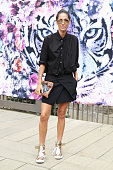 Lindy Klim wearing Ellery skirt Maui handbag Pierre Hardy shoes and Acme shirt at MercedesBenz Fashion Week Australia 2014 at Carriageworks on April...