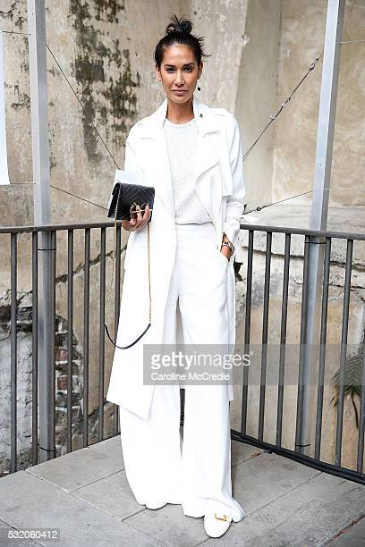 Lindy Klim wearing Viktoria and Woods outfit with YSL handbag arrives ahead of the KITX show at MercedesBenz Fashion Week Resort 17 Collections at...