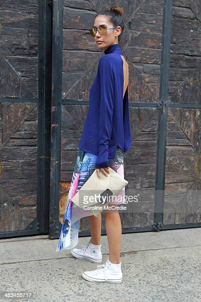 Lindy Klim wears an outfit by Dion Lee a Givenchy handbag and Converse shoes at the Dion Lee show during MercedesBenz Fashion Week Australia 2014 at...