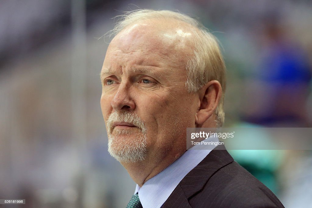 <a gi-track='captionPersonalityLinkClicked' href=/galleries/search?phrase=Lindy+Ruff&family=editorial&specificpeople=243071 ng-click='$event.stopPropagation()'>Lindy Ruff</a> of the Dallas Stars looks on during pregame warm up before the Stars take on the St. Louis Blues in Game One of the Western Conference Second Round during the 2016 NHL Stanley Cup Playoffs at American Airlines Center on April 29, 2016 in Dallas, Texas.