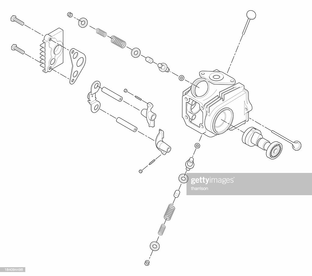 ATV Line Art Cylinder Head : Stock Photo