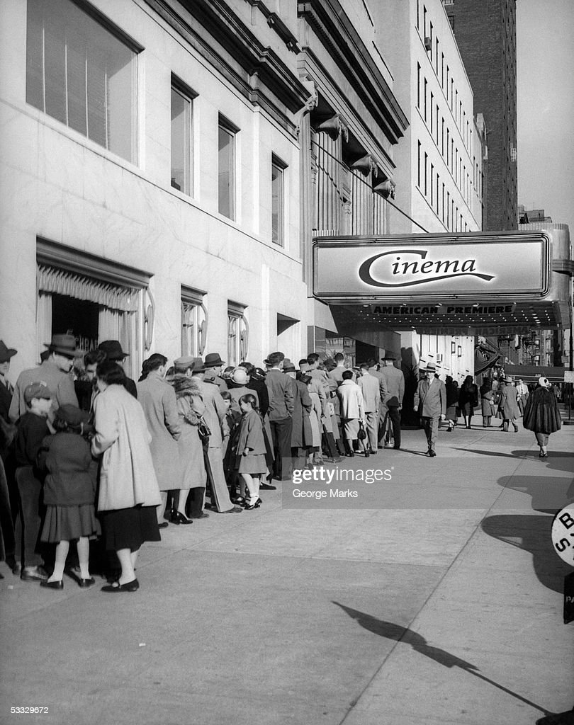 Line at movie theatre, NYC (vintage) : Stock Photo