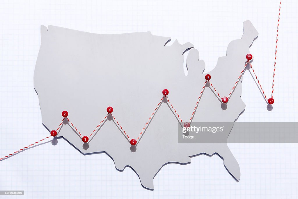Line chart of growth in the USA : Stock Photo